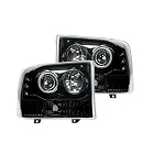 1999-2004 Ford Superduty F250/F350/F450/F550 PROJECTOR HEADLIGHTS - Smoked / Black