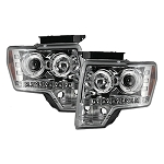 2009-2014 Ford F150 & RAPTOR PROJECTOR HEADLIGHTS - Clear / Chrome