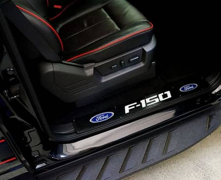 2009-2014 Ford F150 Billet Aluminum Door Sill / Kick Plate (2pc Kit Fits Driver u0026 Front Passenger Side Doors Only) in Black Finish - F150 u0026 Ford Logo & 2009-2014 264321FDBK Ford F150 Billet Aluminum Door Sill / Kick ...