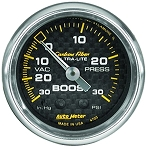 AutoMeter - Carbon Fiber 52mm 30 PSI Mechanical Boost/Vac Gauge