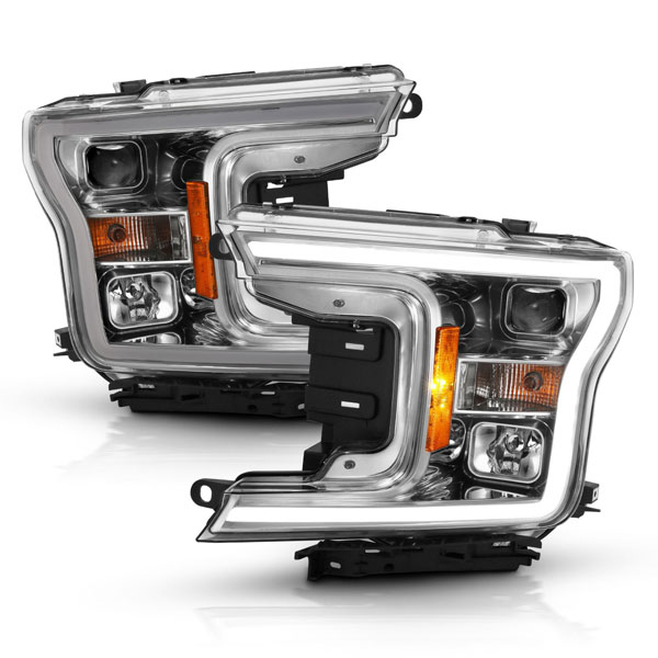 Anzo LED Projector Plank Style Headlights (w/o Switchback) Chrome / Amber for 2018-2019 Ford F-150
