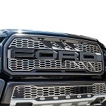 American Car Craft Slash Style Front Upper Grille Overlay for 2017 Ford Raptor 3.5L Ecoboost V6 - 772081 / 772082