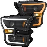 Anzo Projector Plank Style Switchback Headlights Black / Amber for 2015-2017 Ford F150