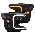 Anzo Projector Plank Style Switchback Headlights Black / Amber for 2018-2019 Ford F-150