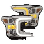 Anzo Projector Plank Style Switchback Headlights Chrome / Amber for 2018-2019 Ford F-150