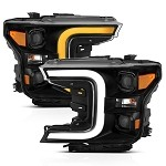 Anzo LED Projector Plank Style Switchback Headlights Black / Amber for 2018-2019 Ford F-150