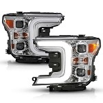 Anzo LED Projector Plank Style Switchback Headlights Chrome / Amber for 2018-2019 Ford F-150