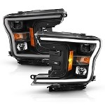Anzo LED Projector Plank Style Headlights (w/o Switchback) Black / Amber for 2018-2019 Ford F-150