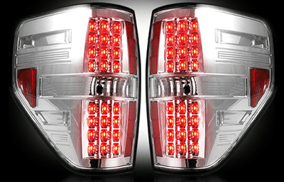 2009 2014 Ford F 150 Recon Chrome Clear Led Tail Lights