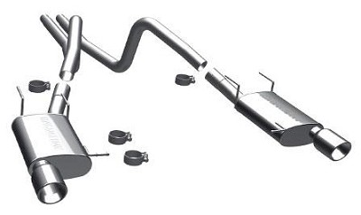 "2011-2014 Mustang V6 - Magnaflow Street Series Stainless 2.5"" Cat-Back System - Dual Split Rear Exit"