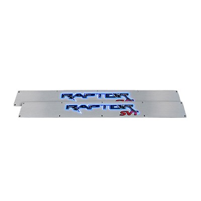 2009-2014 Ford SVT RAPTOR Billet Aluminum Door Sill / Kick Plate (2pc Kit Fits Driver & Front Passenger Side Doors Only) in Brushed Finish - RAPTOR in BLUE ILLUMINATION
