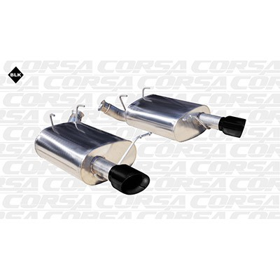 "2011-2014 Mustang 3.7L V6 - 2.5"" Corsa Axle-Back Dual Rear Exit with Single 3.5"" Black Tips"