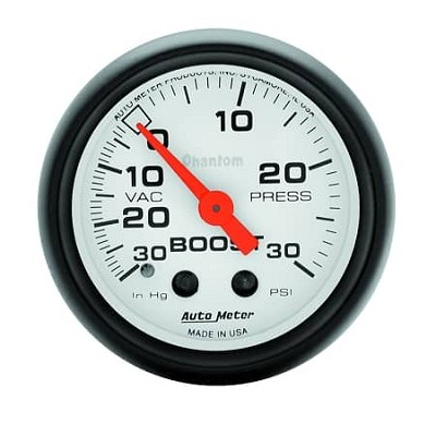 AutoMeter - Phantom 52mm 30 PSI Mechanical Boost/Vac Gauge