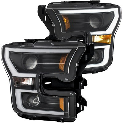 Anzo Projector Plank Style Headlights Black Clear Amber for 2015-2017 Ford F150