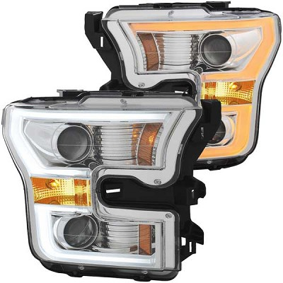 Anzo Projector Plank Style Switchback Headlights Chrome / Amber for 2015-2017 Ford F150