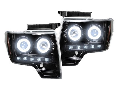 2009-2014 Ford F-150 RECON Projector Headlights - Smoked/Black w/ CCFL Halos & DRL's